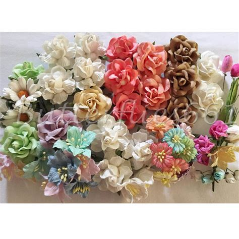 Paper Flowers Handmade - value set 60 handmade mulberry paper flowers by