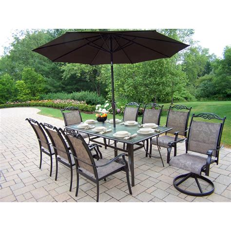 Patio Umbrella Set Oakland Living Cascade Patio Dining Set With Umbrella And Stand Patio Dining Sets At Hayneedle
