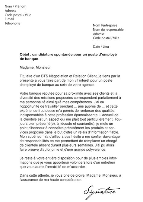 Lettre De Motivation Grande Banque Lettre De Motivation Employ 233 De Banque Mod 232 Le De Lettre