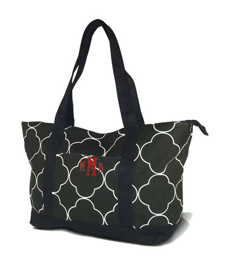 Embroidered Tote Bag monogram quatrefoil tote bag personalized embroidered