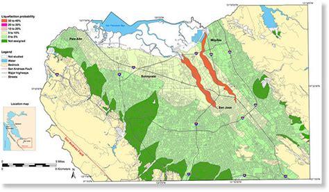 san francisco liquefaction map usgs maps show south san francisco bay quake liquefaction