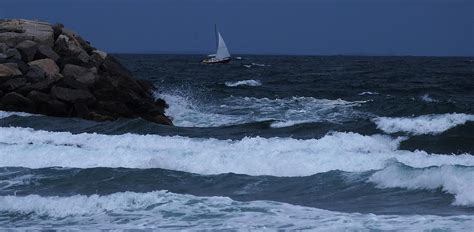 sailboat in water sailboat in rough water photograph by bill driscoll