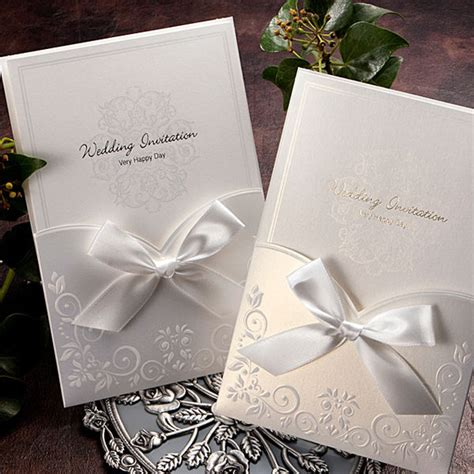 custom pocketfold wedding invitations personalized white pocket ribbon wedding invitations cards envelope seals ga1016 ebay