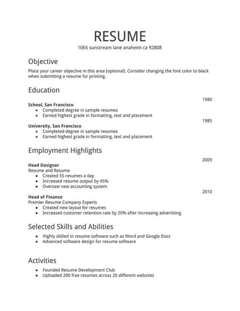 resume format simple word file bnsc resume template 2017