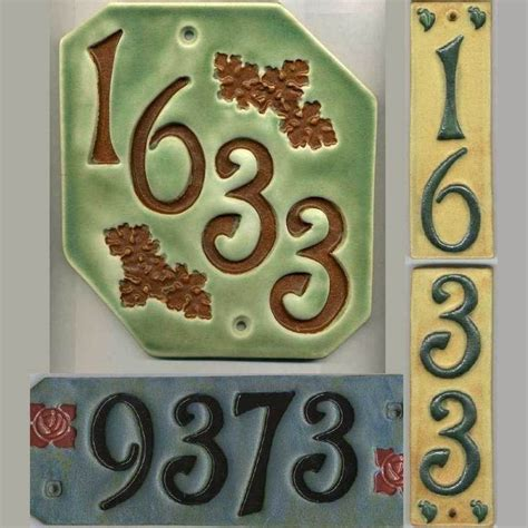 Ceramic House Numbers by Handcrafted Four Digit Ceramic House Number Tile Craftsman