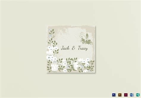 vintage wedding place card template in psd word