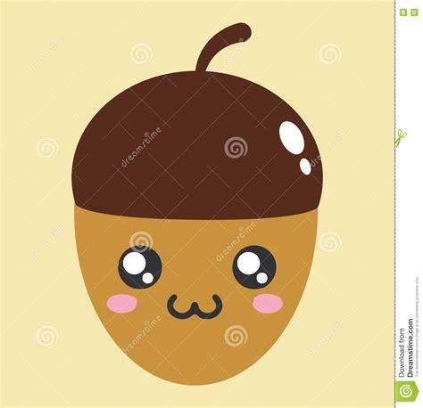 cute acorn pattern acorn kawaii cartoon cute icon stock vector image 79883175