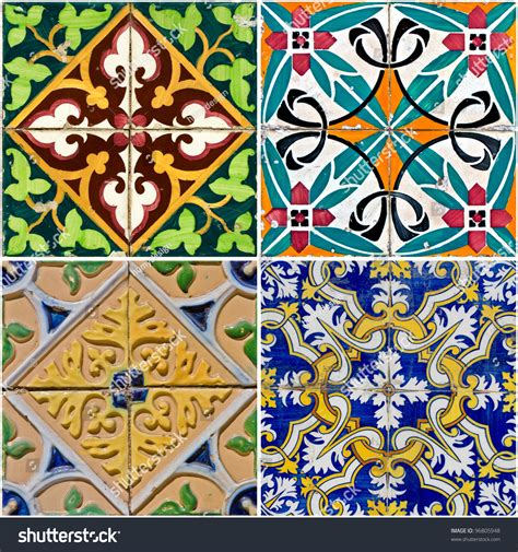 Spanish Style Home Designs by Colorful Vintage Ceramic Tiles Wall Decoration Stock Photo