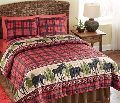 Woodland Cabin Bear Moose Red Black Plaid Bedding Set Twin Moose Bedding Set