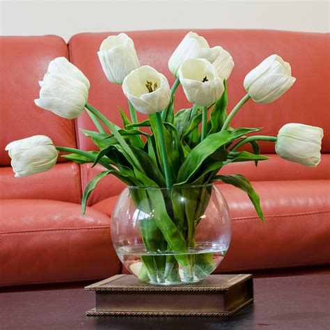 home decor artificial flowers real touch white tulip faux arrangements centerpieces