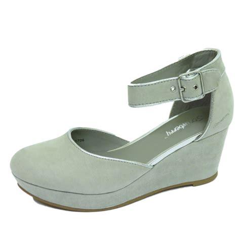 womens grey mid heel wedge platform work