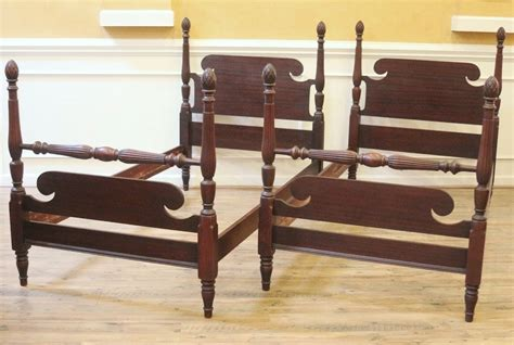 antique twin beds pair antique twin beds mahogany pineapple post american