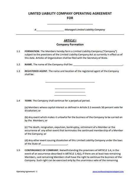 limited liability company agreement template operating agreement