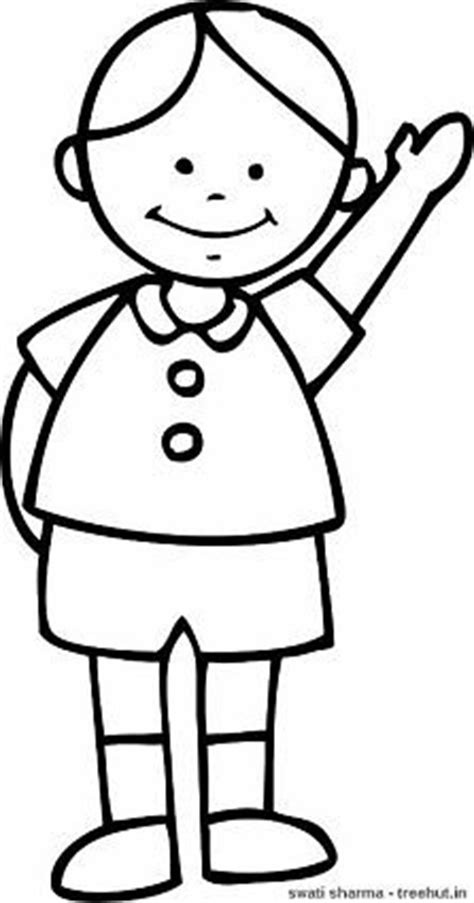 boy waving coloring page simple boys coloring pages