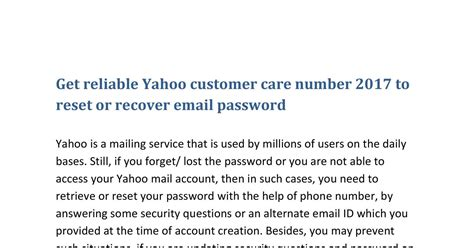 email of yahoo customer care get reliable yahoo customer care number 2017 to reset or