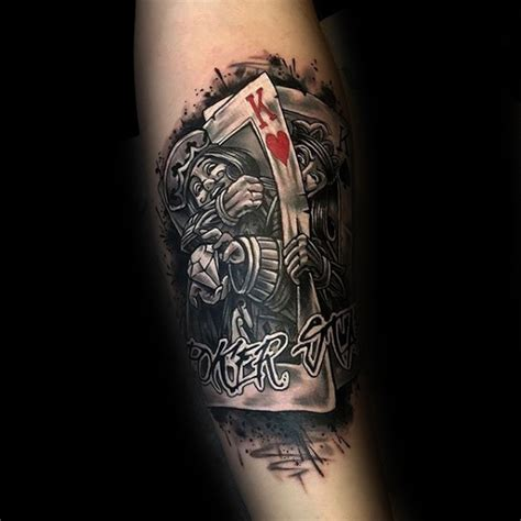 tattoo joker old school 90 playing card tatouages pour les hommes design ideas