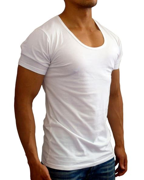 Tshirt Pria Low new mens plain white scoop neck t shirt s slim