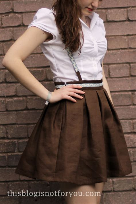 pleated skirt with detachable suspenders suspenders and