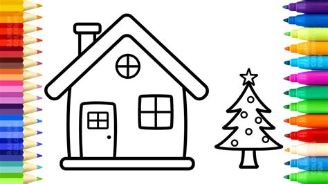 coloring house santa house coloring pages how to draw and paint
