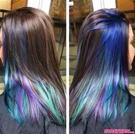 hairstyle with dark color underneath and layered oil slick hair color is one of the most amazing things you
