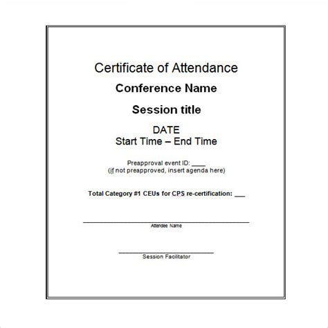 16 attendance certificate template download free