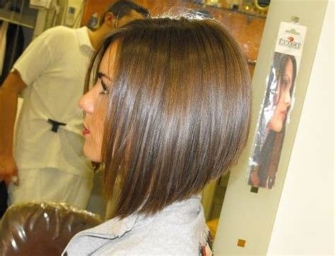 long graduated layers with a side angled or sweeping bang graduated bob haircut hairstyle