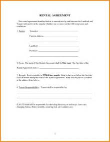 rental agreement forms generic resume