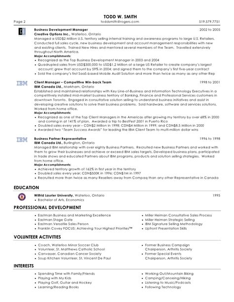 Sles Of Professional Resumes by Todd W Smith Senior Sales Marketing Professional Resume