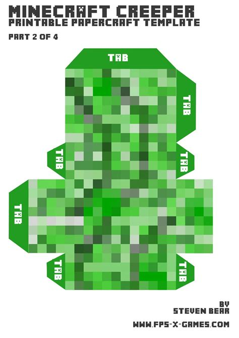 Papercraft Minecraft Templates - free coloring pages of creeper