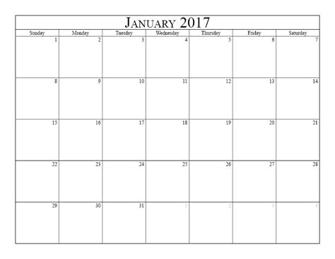 Calendar 2017 Monthly Uk Blank Monthly Calendar 2017 Printable 2017 Calendars