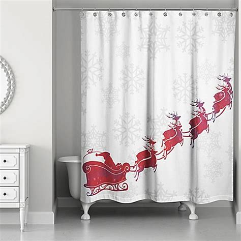 red hookless shower curtain santa s sleigh shower curtain in red white bed bath beyond