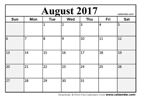 printable calendar pdf 2017 august 2017 calendar printable template with holidays pdf