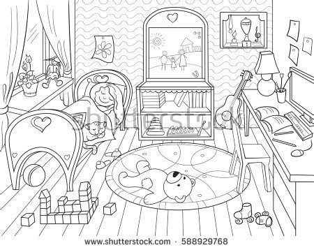toy kitchen coloring page kids coloring on theme childhood room stock vector
