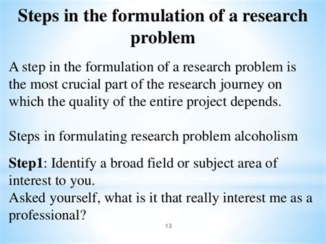 problem formulation and statement of research objectives formulating a research problem