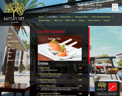Fab Site Daszigncom by Website Design For Banyan Tree Thai Restaurant Gt Fab Web