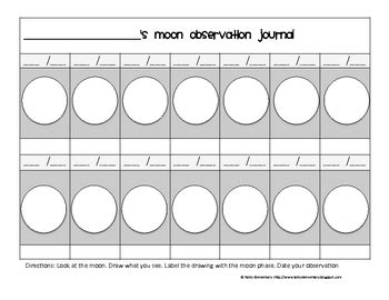 printable moon journal moon observation journal by fairly elementary teachers