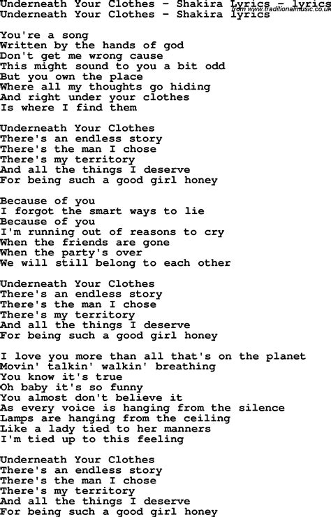 in lyrics song lyrics for underneath your clothes shakira lyrics