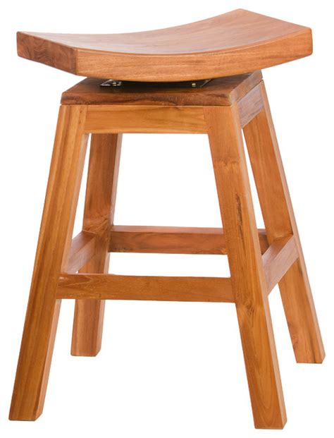 24 Inch High Stools by 24 Inch Counter High Stool In Solid Teak With Swivel Seat