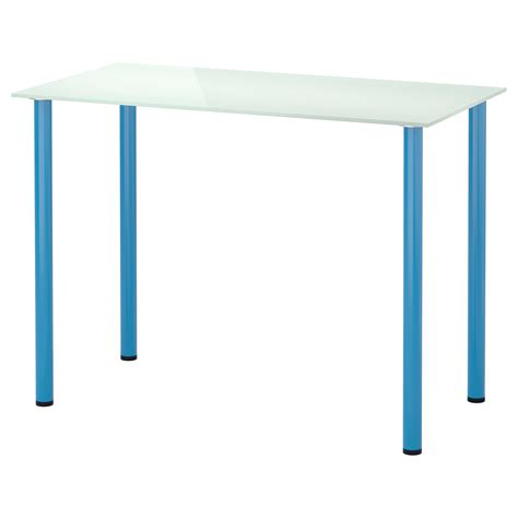 glasholm adils table glass white blue 99x52 cm ikea