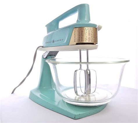Mixer W Bowl Signora treasury item vintage mid century general electric aqua