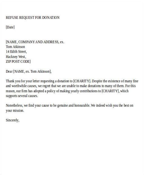 charity request refusal letter donation letter exles