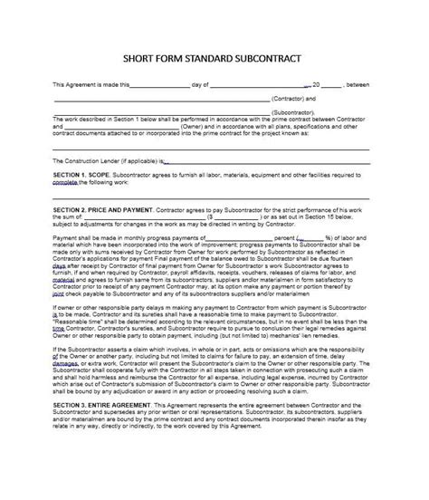 master subcontract agreement template excellent subcontract template pictures inspiration