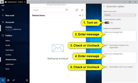 tutorial for windows 10 mail turn on or off automatic replies in windows 10 mail app