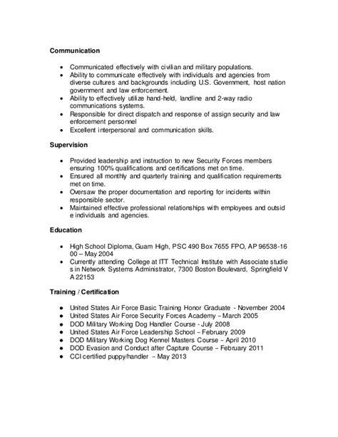 K 9 Handler Resume by K9 Resume
