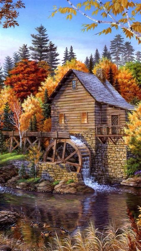 bob ross painting the mill the water mill paintings house
