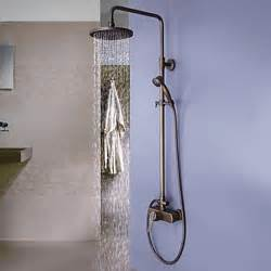 Shower And Bath Fixtures Antique Brass Tub Shower Faucet With 8 Inch Shower Head