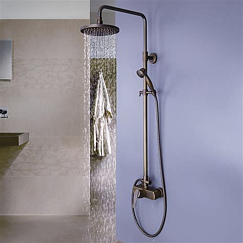 bathtub fixtures with handheld shower antique brass tub shower faucet with 8 inch shower head and hand shower