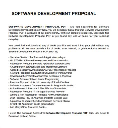 sle software development proposal template 7 free