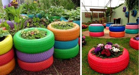 imagenes de jardines reciclados neum 225 ticos reciclados 20 ideas para maceteros de jard 237 n
