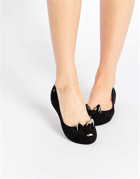 cat flat shoes ultragirl black cat flat shoes in black lyst